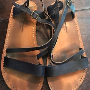 Mykonos Shoes - Mykonos Blue Leather Sandals